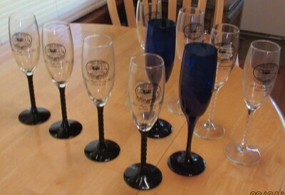 First Flight Society Champagne Glasses-Black Stem