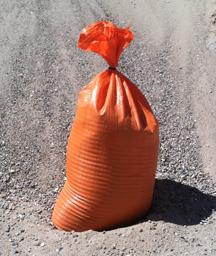 "10-pack orange polypropylene sandbags, empty, 14""x26"" - $0.50 each"