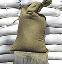 "Filled untreated burlap bags, avg. 35 lb. - 1-74 count,  14""x26"""