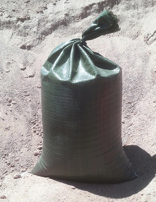 10-pack green polypropylene sandbags, empty, 14