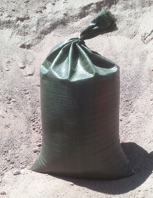 "10-pack green polypropylene sandbags, empty, 14""x26"" - $0.75 each"