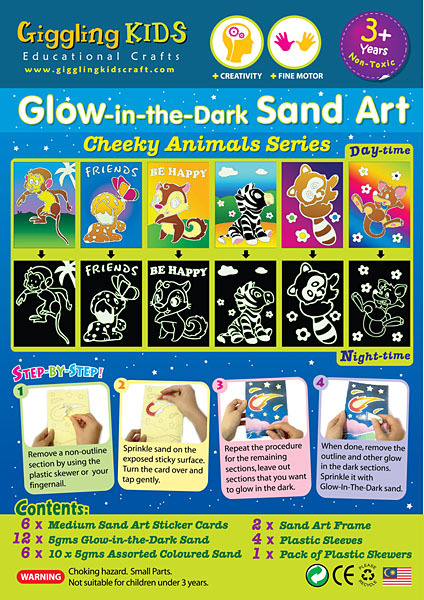 Glow-in-the-Dark Sand Art  - Cheeky Animals Series GID-CA