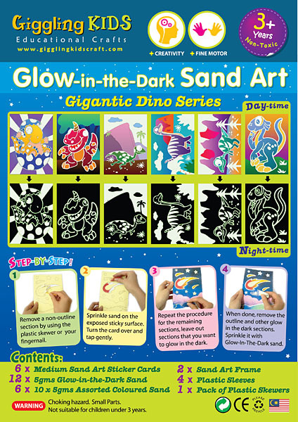 Glow-in-the-Dark Sand Art - Gigantic Dino Series GID-GD
