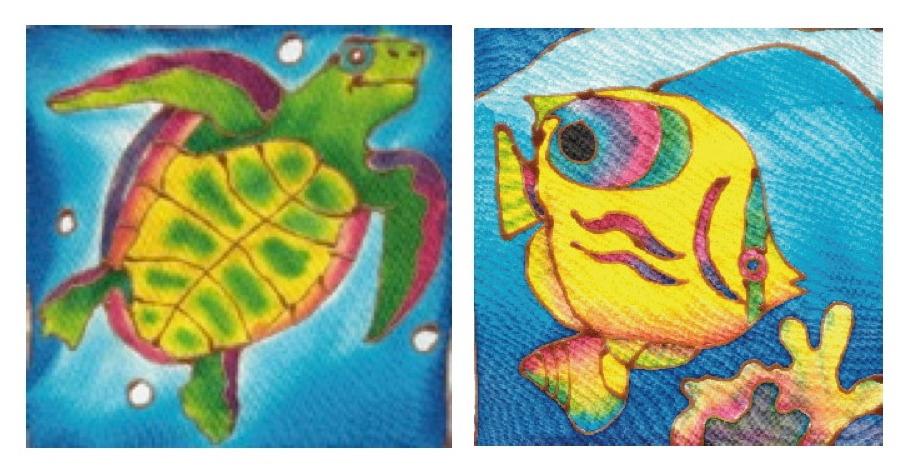 Two Batik Painting Designs: Turtle & Coral Fish BTK-3