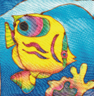 Two Batik Painting Designs: Turtle & Coral Fish