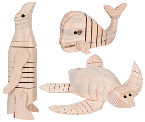 *New* Wooded Sea Animals (set of 3) WC - 012