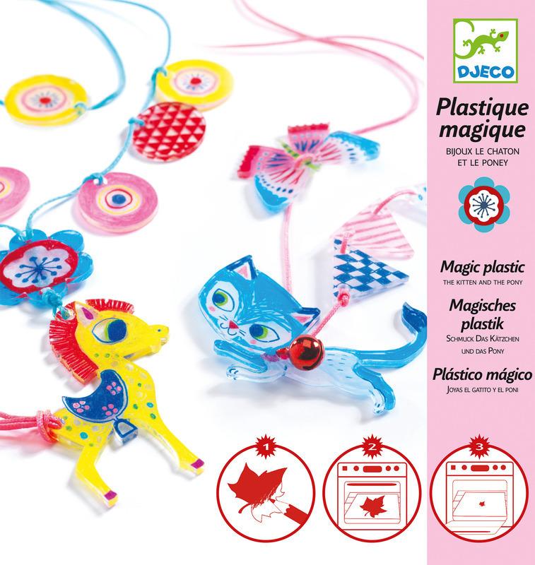 """Djeco Magic Plastics """"Kitten & Pony  Jewels"""" Kit DJ060"""