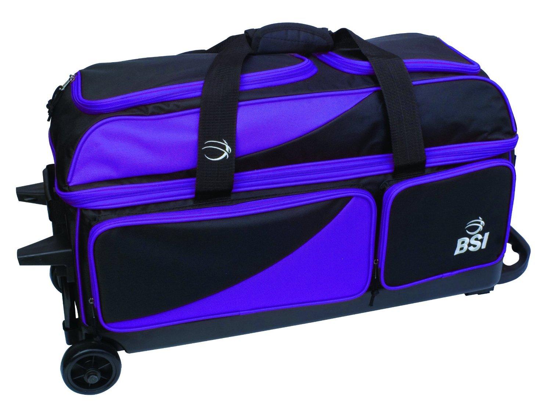 BSI Black/Purple 3 Ball Roller Bowling Bag 1361