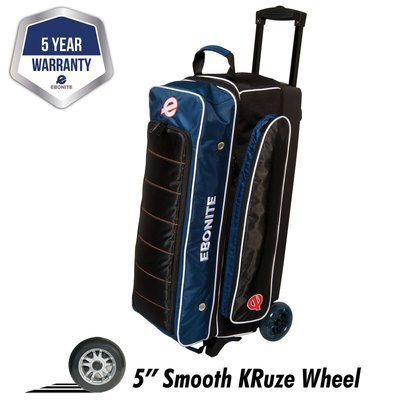 Ebonite Eclipse Navy/Black 3 Ball Roller Bowling Bag