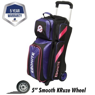 Ebonite Equinox Purple/Pink 3 Ball Roller Bowling Bag