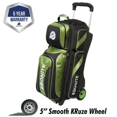 Ebonite Eclipse Lime/Black 3 Ball Roller Bowling Bag