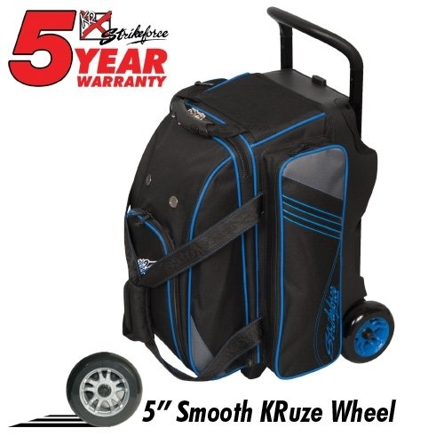 KR Strikeforce Lane Rover Black/Grey/Blue 2 Ball Roller Bowling Bag 505