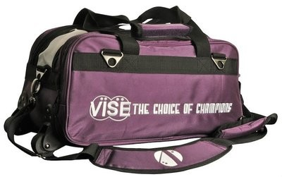 Vise 2 Ball Clear Top Roller Bowling Bag Purple