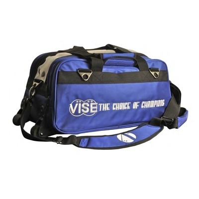 Vise 2 Ball Clear Top Roller Bowling Bag Blue