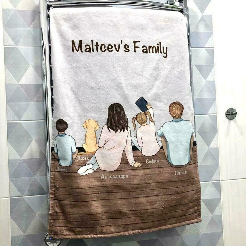 Полотенце с рисунком вашей семьи