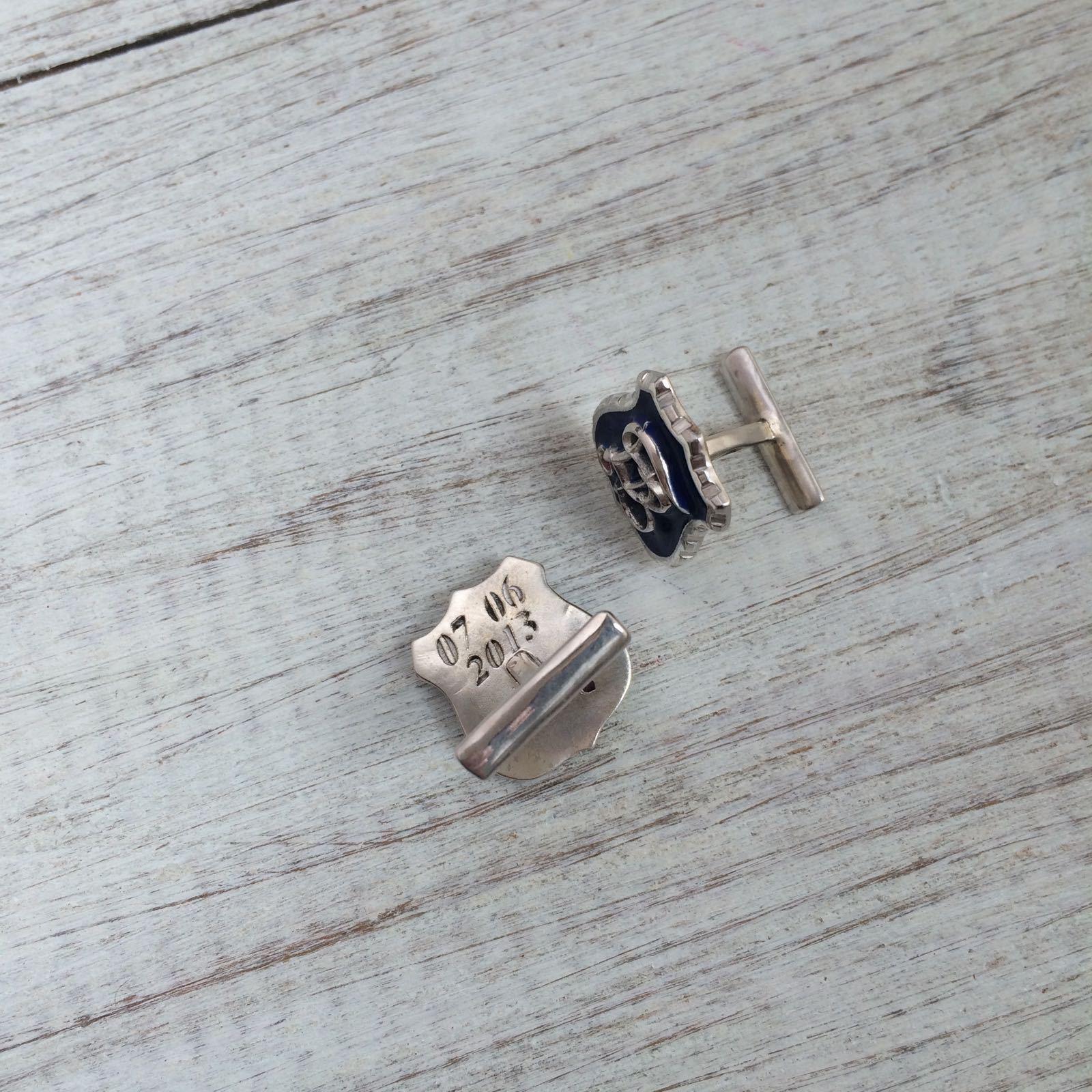 Запонки с вашим вензелем: серебро 925 пробы