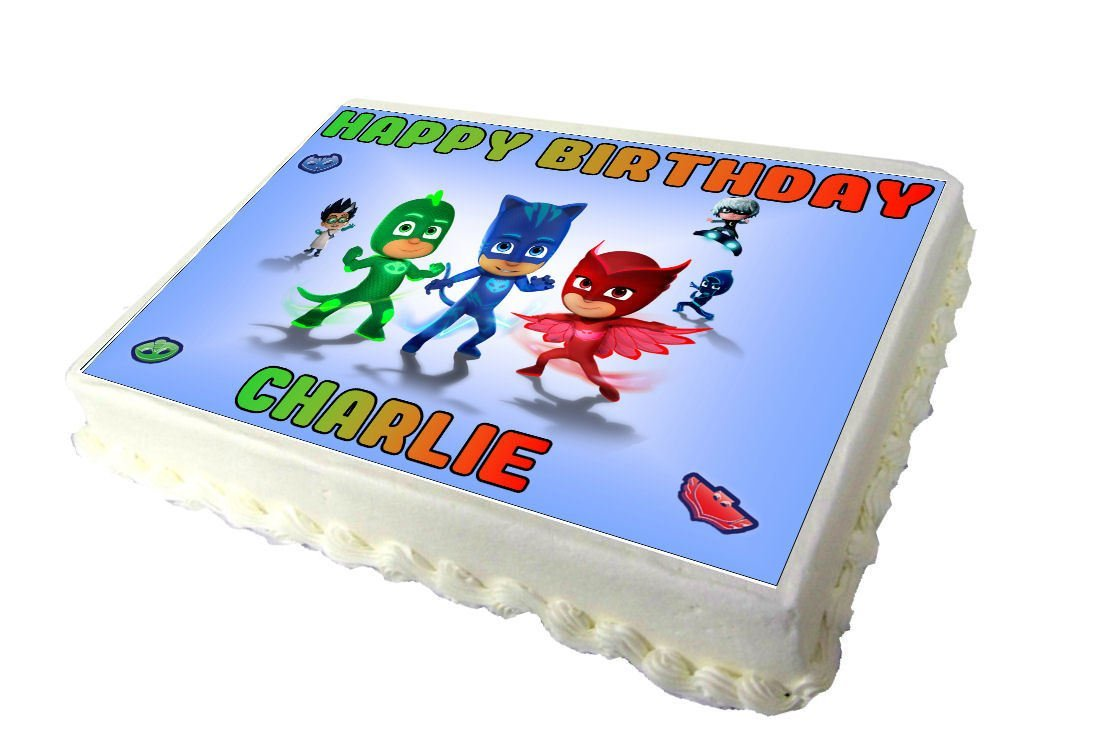 A4 PJ Masks Personalised Real Icing Cake Topper