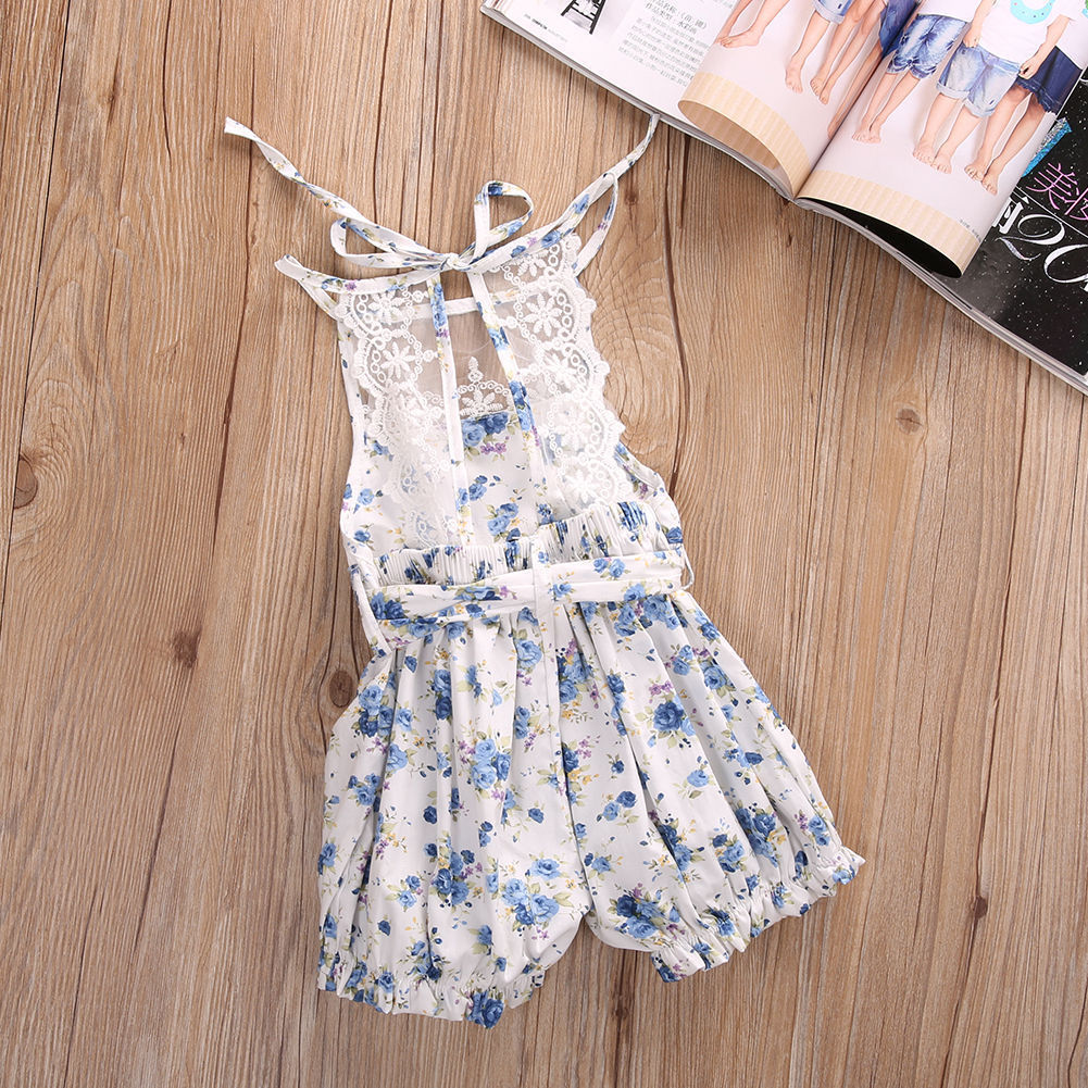 Baby girl vintage toddler lace blue floral petti romper photo prop one-pieces