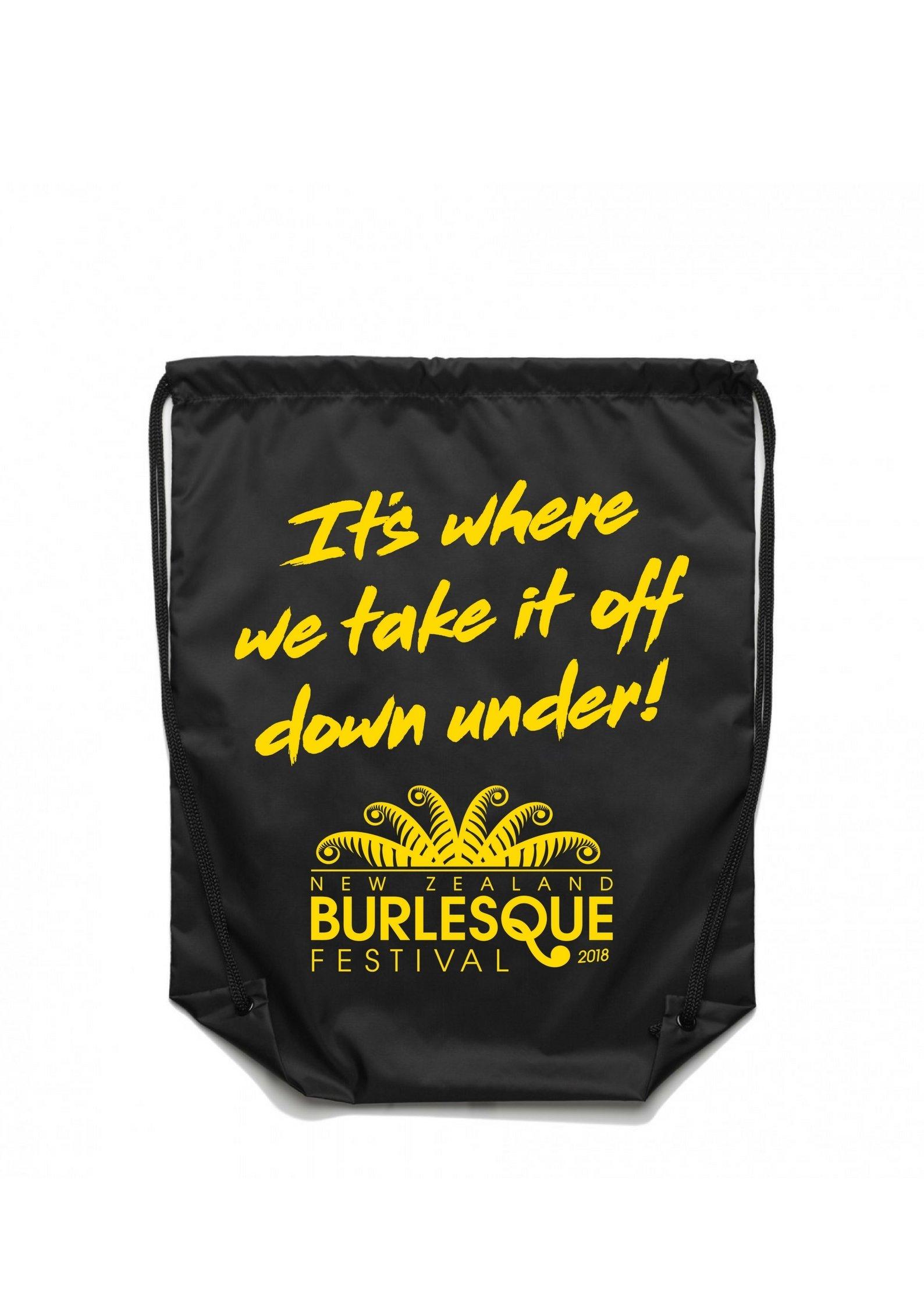 NZBF18 Drawstring Bag - Yellow on Black 00024