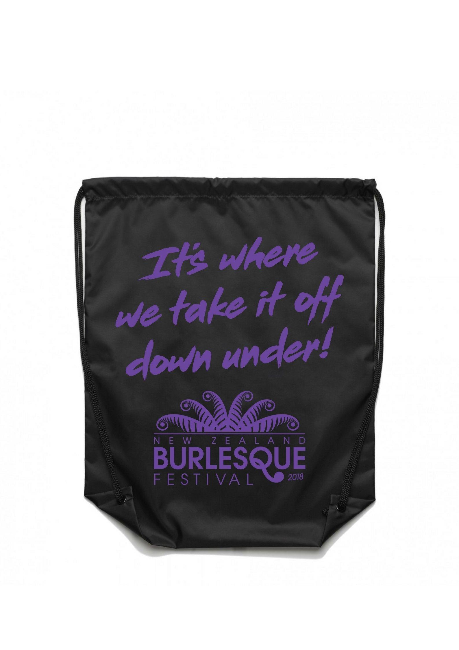 NZBF18 Drawstring Bag - Purple on Black