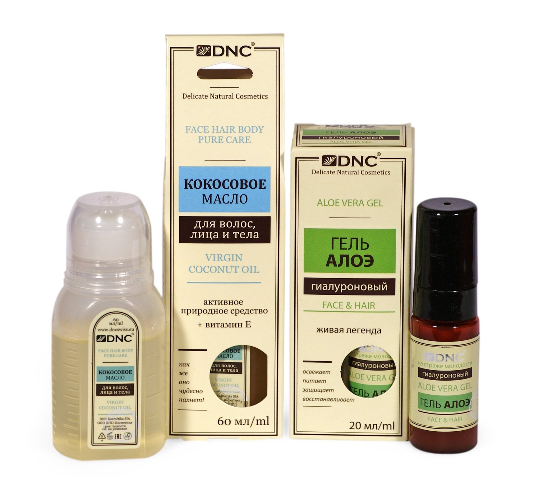 Набор для ухода за лицом, телом и волосами: Кокосовое масло (60 мл) и Гель гиалуроновый Алоэ (20 мл)