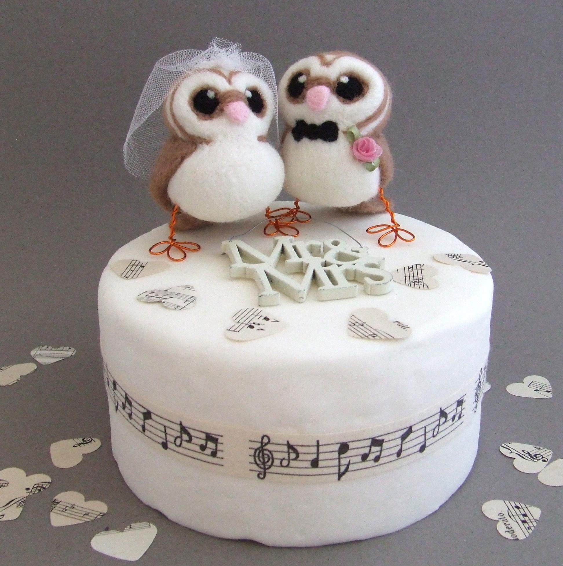 Bride and Groom Barn Owl Wedding Cake Topper