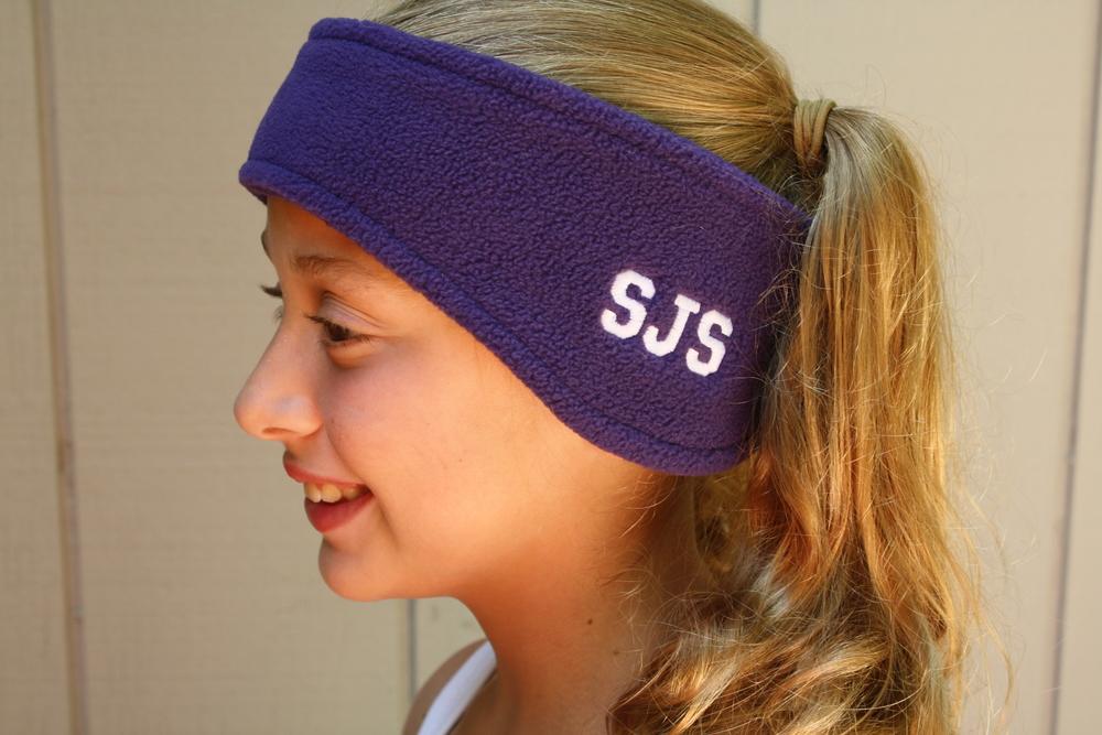 Fleece headband with SIDE SJS embroidery