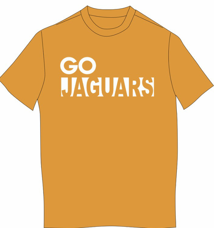 GO JAGUARS Next Level SHORT sleeved T-shirt--WHITE IMPRINT