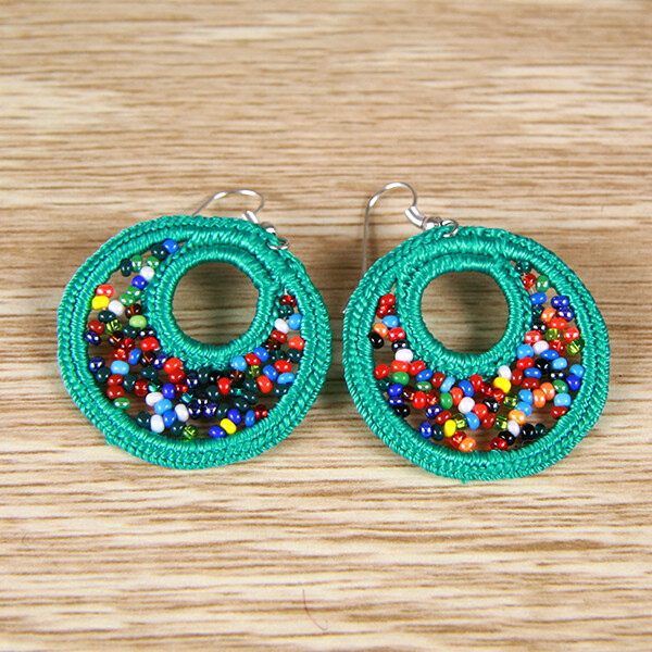 Cotton Earrings with Glass Bead- Mint Green- FREE POSTAGE
