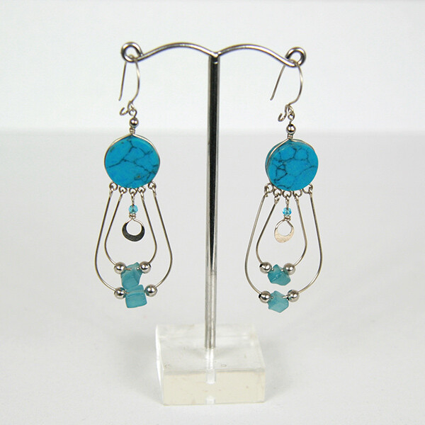 Peruvian Earrings with Howlite Stone- FREE POSTAGE