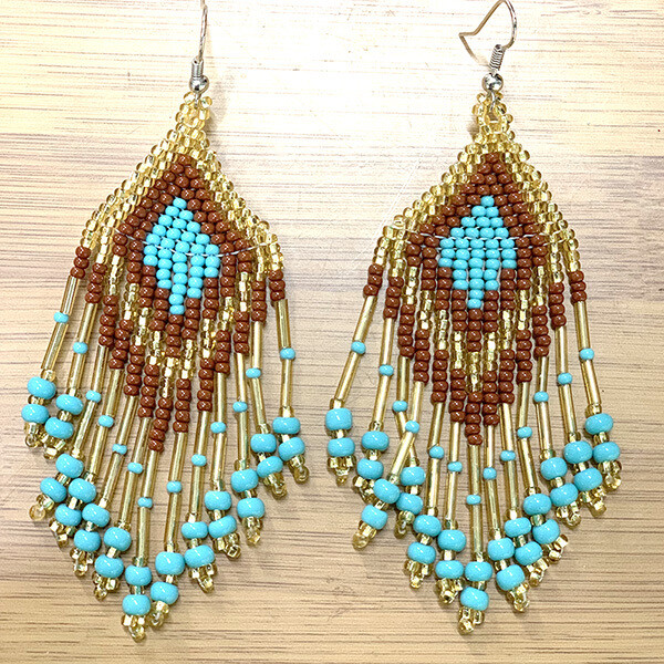 Glass Bead Earrings- Turquoise Earth- FREE POSTAGE!