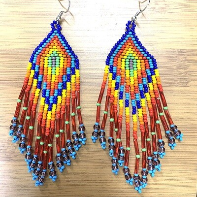 Glass Bead Earrings- Rainbow- FREE POSTAGE!