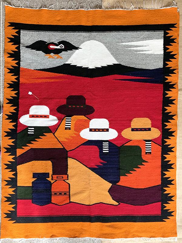 Large Woven Rug from Ecuador