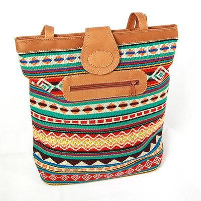 Woven Bag with leather trim