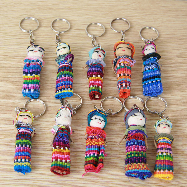 Worry Doll on Key Ring - Set of 10.  FREE SHIPPING