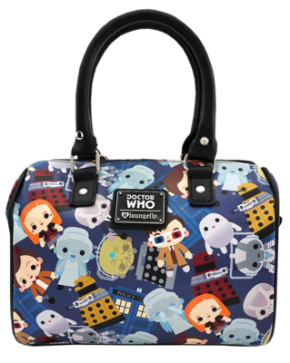 "PRE-ORDER Doctor Who - Chibi Print 10"" Faux Leather Duffle Bag"