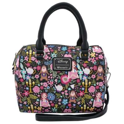 "PRE-ORDER Beauty and the Beast - Character Floral Print 9"" Faux Leather Duffle Bag"
