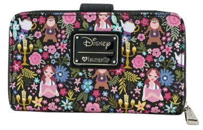 "PRE-ORDER Beauty and the Beast - Character Floral Print 7"" Faux Leather Zip-Around Wallet"
