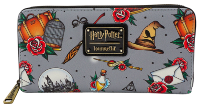 "PRE-ORDER Harry Potter - Tattoo Print 8"" Faux Leather Zip-Around Wallet"