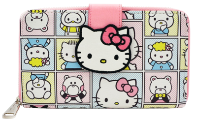 "PRE-ORDERHello Kitty - Character Print 7"" Faux Leather Zip-Around Wallet"