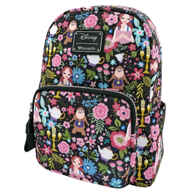 "PRE-ORDER Beauty and the Beast - Character Floral Print 11"" Mini Backpack"