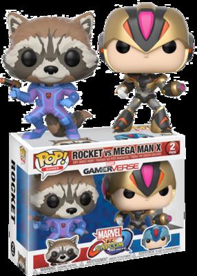 Marvel Vs. Capcom - Rocket Purple and Black vs Mega Man Black and Gold Exclusive Pop! Vinyl Figure 2-Pack