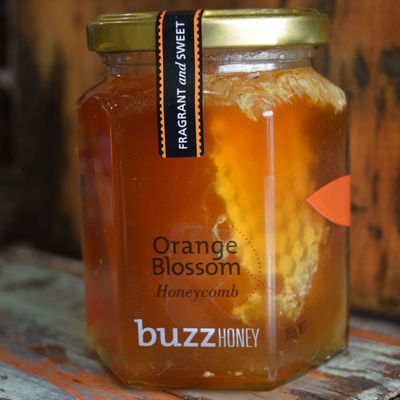 Honeycomb in Orange Blossom Honey 360g Glass Jar