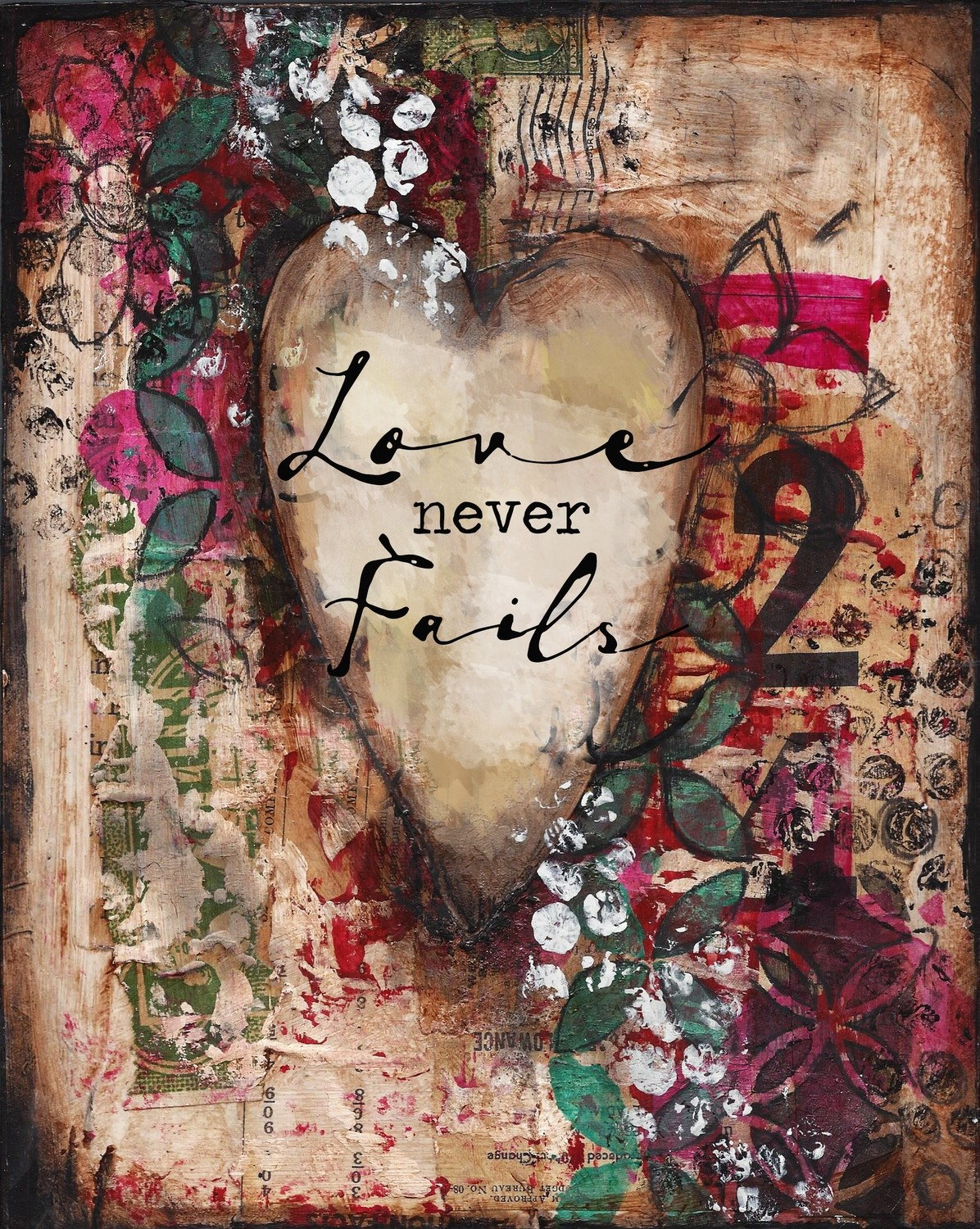"""Love never Fails"" Print on Wood and Print to be Framed"