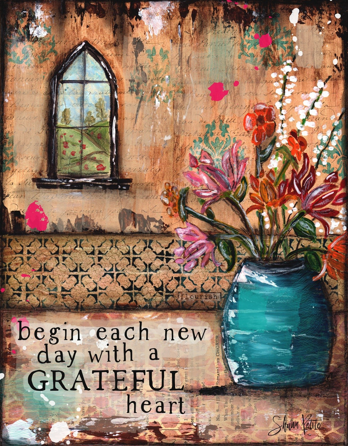 """Begin each day with a Grateful Heart"" Print on Wood and Print to be Framed"