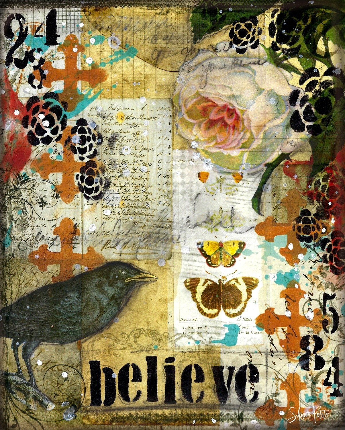 """Believe"" blackbird Print on Wood and Print to be Framed"