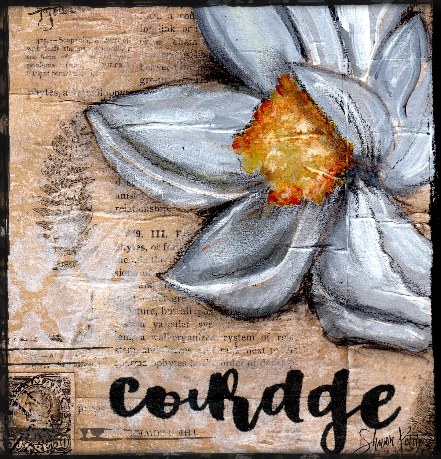 """Courage"" magnolia, Print on Wood and Print to be Framed"