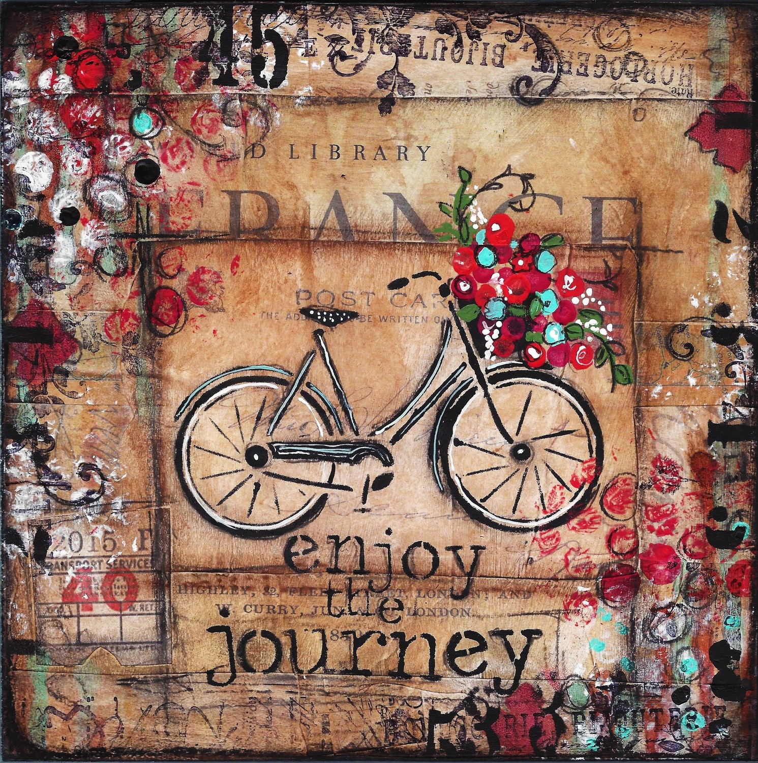 """Enjoy the Journey"" bicycle Print on Wood and Print to be Framed"