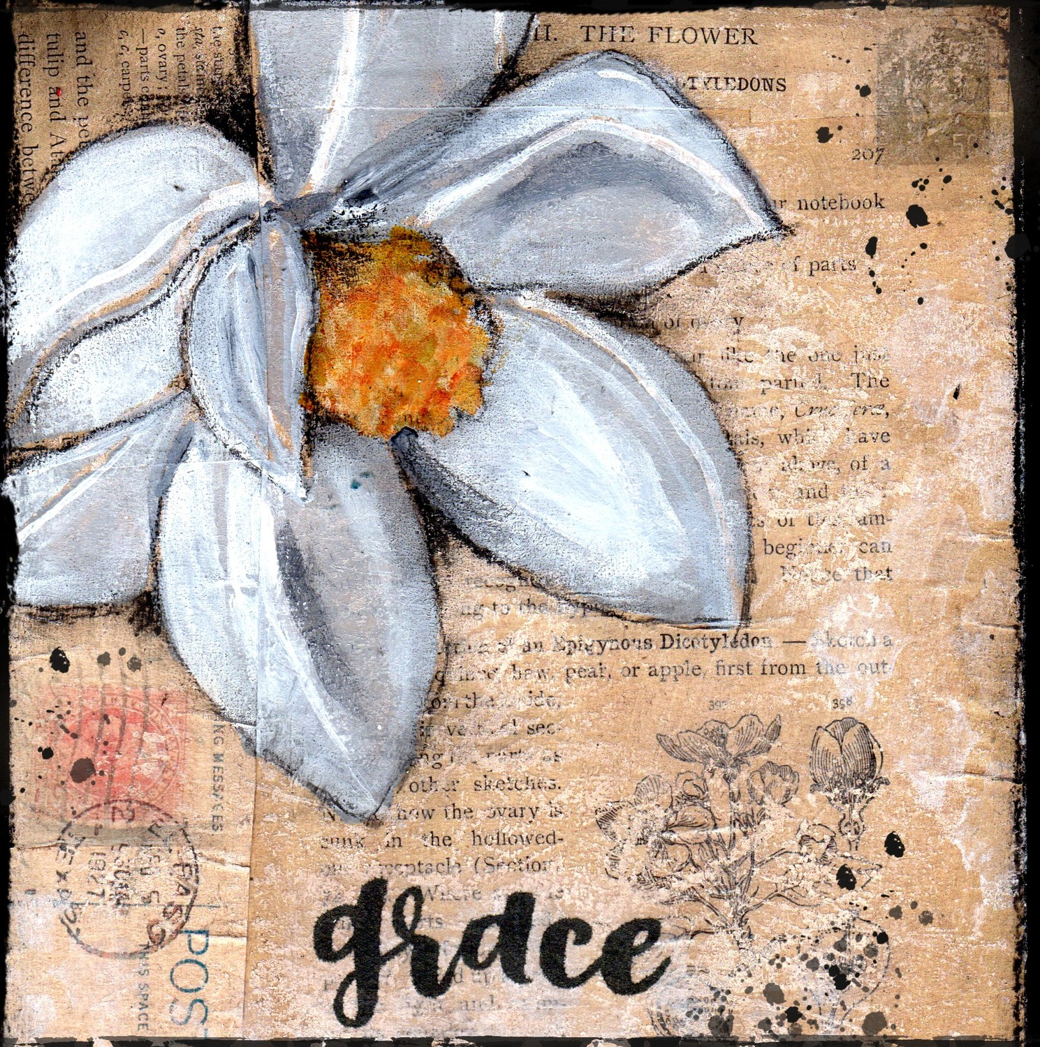 """Grace"" magnolia, Print on Wood and Print to be Framed"