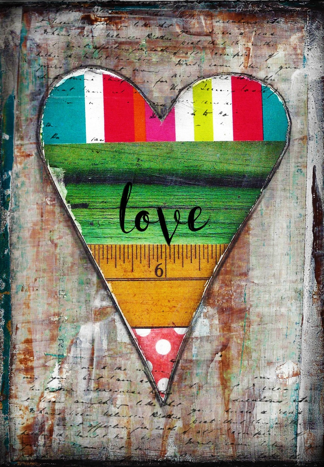 """Love"" heart series 7 print of the original on wood"